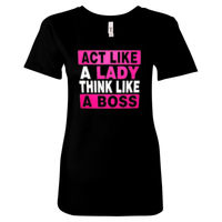 Act Like a Lady Think Like a Boss Women Fitted T's - Women's Ideal Crew Thumbnail