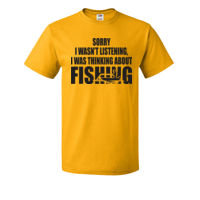 Was thinking about Fishing - HD Cotton Short Sleeve T-Shirt Thumbnail